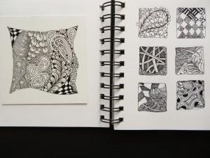 Sketchbook pages showing Mooka Zentangle practice, Poke Root, Flux etc.